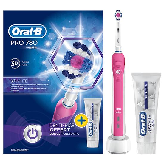 Oral-B PRO 780 Pink 3D-White + Tandpasta - Prijsvergelijk