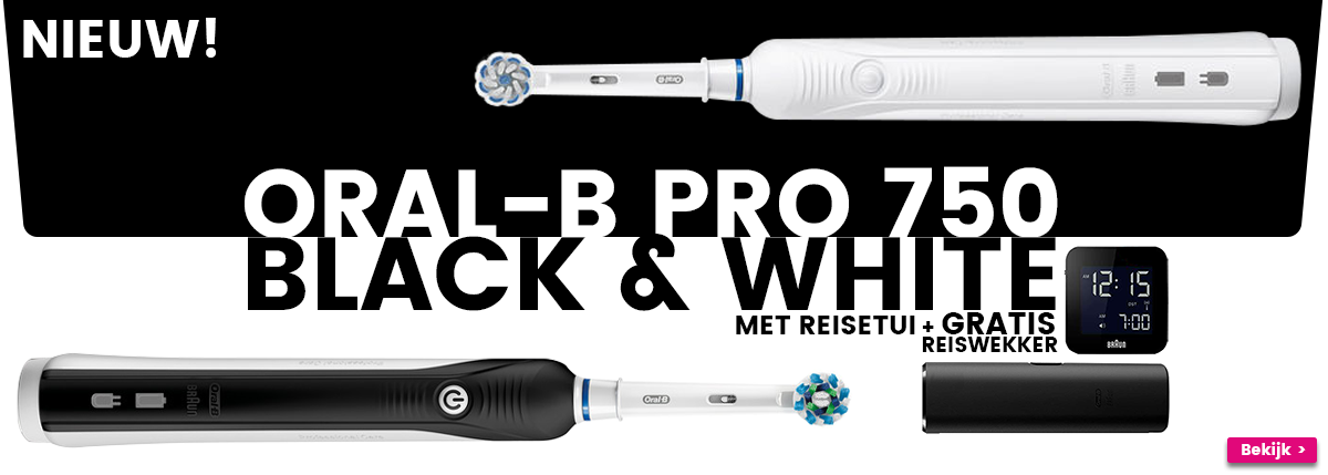 Oral-B PRO 750 Black&White + gratis wekker